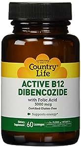 Country Life, glutenfrei, Aktiver B-12 dibencozide, 3000 mcg, 60 Lutschtabletten