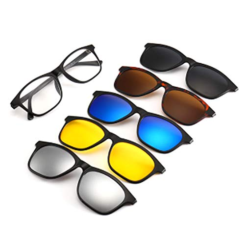 hlq Men es Sonnenbrille, Universal Outdoor Gläser, UV400 Polariisierte Lens Retro Magnetic Clamps Sichtbare Lichtperspektive 99% Ultra Light 5 Piece Set,2209