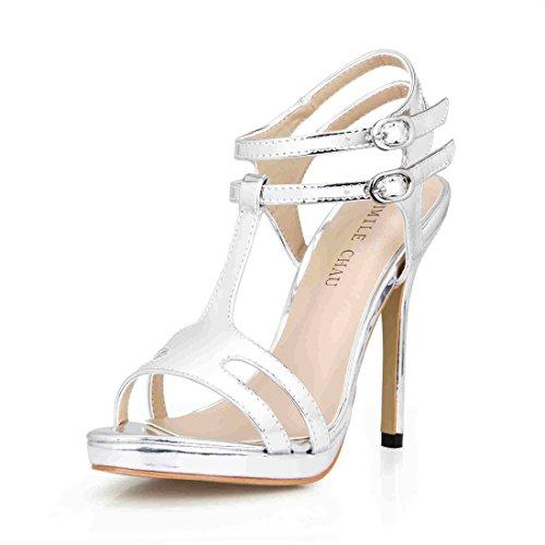 CHMILE CHAU-Scarpe da Donna-Sandali Tacco Alto a  Spillo-Sexy-Nuziale-Sposa-Eleganti-Moda-Partito-con Cinturino a  T-Piattaforma 1cm 92b6926b5b8
