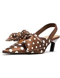 QSCG Damen Kitten Heel High Heels Doted Spitzen Zehen Stiletto Sandalen Hochzeit Schuhe