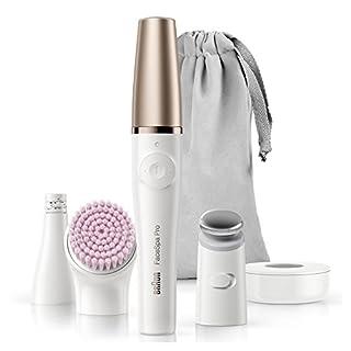Braun FaceSpa Pro 912 3-in-1 Beauty Gerät für das Gesicht, mit Gesichtsepilierer, Reinigungsbürste und MicroVicrationsaufsatz, Akkubetrieb, weiß/bronze