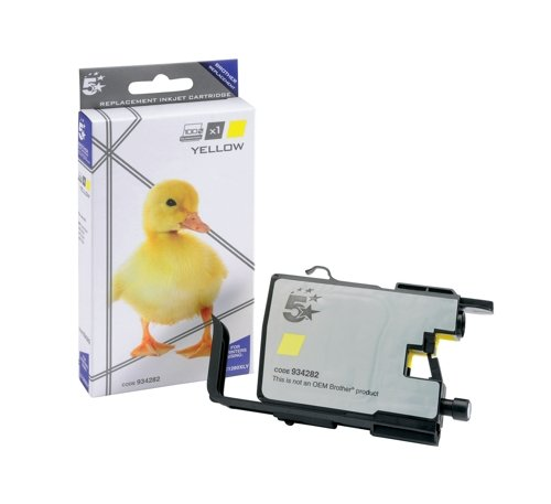 5 Star Compatible Inkjet Cartridge Page Life 1200pp Yellow [Brother LC1280XLY Alternative]