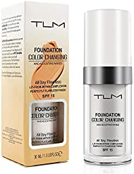 TLM Colour Changing Foundation Makeup, Flawless Concealer Cover Cream, Warm Skin Tone Foundation liquid, Base Nude Face Moisturizing Liquid Cover Concealer for Women and Girls