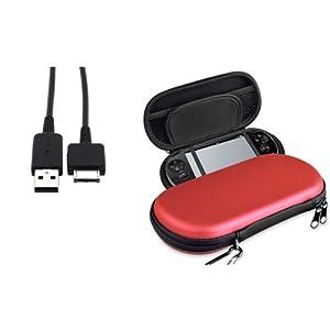 Silber EVA Tasche Decken+Lade Kabel Kabel f�r Sony Playstation PS Vita PSV Neu
