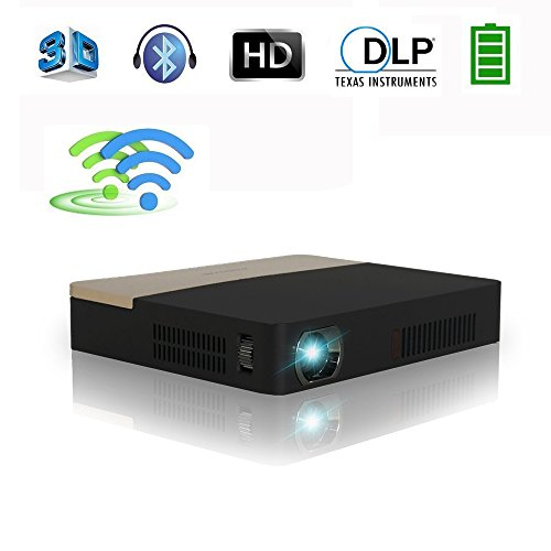 DLP Mini Beamer 3D Full HD Projektor Heimkino mit Android 4.4.4 Bluetooth 4.0 WIFI 2000 Ansi Lumen LED Videoprojektor mit HDMI USB AV VGA für TV PC Laptop Smartphone Kino Präsentation