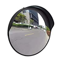 Traffic Security Mirror Convex Blind Spot Driveway Mirror for Road Mall Safety PC Plastic Black 30 cm Wide Angle for Outdoor Hidden Road