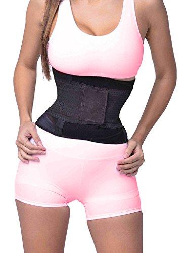 Camellias Damen Sport Gürtel Taille Trainer Belt für eine Sanduhrfigur Breathable Verstellbar Corset Waist Body Shaper, UK-SZ8001-Black-L (Grüner Mann Body)