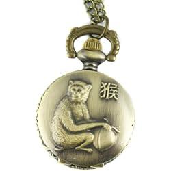 MapofBeauty Bronze Chinese Zodiac Monkey Pattern Case Quartz Pocket Watch