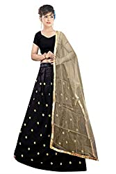 Florence Womens Silk Black Embroidery Lehengha Choli(MX005_Black)