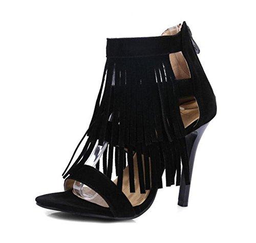 SHINIK Aux femmes Ankle Strap Pompes Gland Haut Haut des sandales Peep-orteil Chaussures Court Black