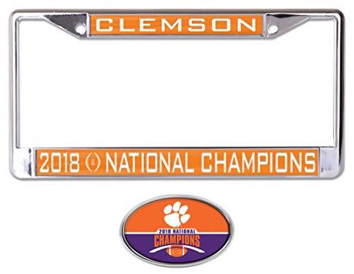 Wincraft Bundle 2 Teile: Clemson Tigers Fußball 2018 Champions 1 Premium Chrome Kennzeichenrahmen und 1 Auto Emblem Aufkleber Champions Auto-magnet