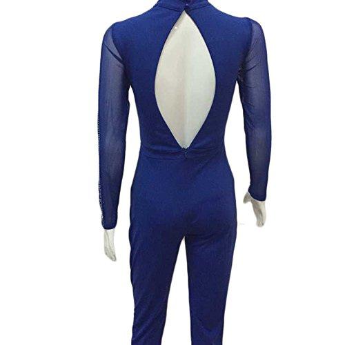 WintCo Damen Langarm Overall mit Spitze Strass Jumpsuit Einteiler Rückenfrei Blau