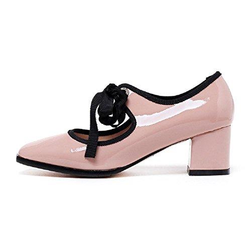 YYH Euro-americano stile piazza Capo Asakuchi Chunky tacchi fiocco genuino cuoio scarpe Nude della donna . pink . 35