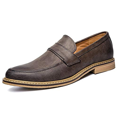 Jingkeke Herren Schnürformelle Oxfords for Herren Klassische Business Loafers Schuhe Weiches Kunstleder Vegan Vamp Block Ferse Ins Auge fallend Mode (Farbe : Khaki, Größe : 39 EU) -