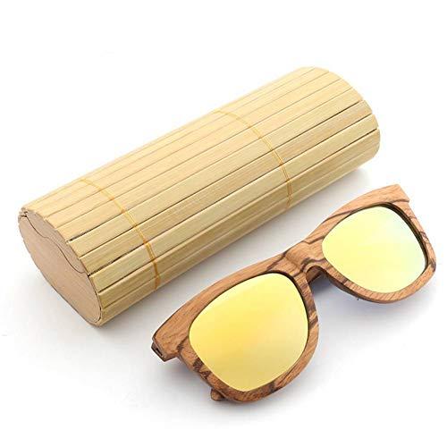 GAOHAITAO Polarisierte Männer Spiegel Eyewear Frauen handgefertigte Sonnenbrillen aus Holz,Gelb,nur Sonnenbrillen