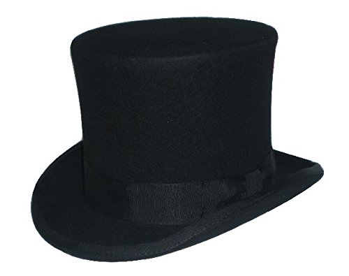 (gjin-hats, Frauen/Männer Top Hat Steampunk/Mad Hatter Hut/Traditionelle Victorian Vintage Wolle-Hüte Hut/Zylinder Hut/Kamin Pot Hut, Schwarz, 59cm)