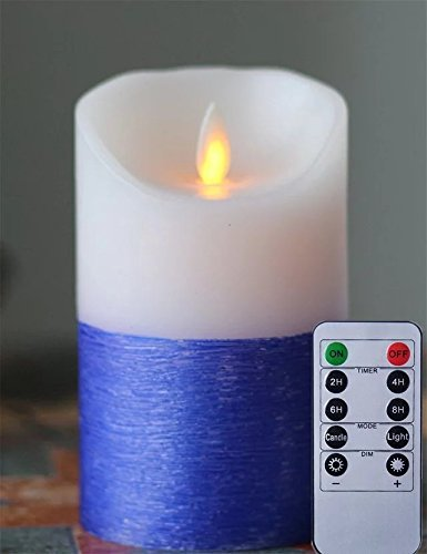 Blue Glitter sin llama Moving Wick Wax LED Candle 3