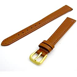 Comfortable Flexible Leather Watch Strap Band Buffalo grain 8mm Width Tan with Gilt (Gold Colour) Buckle R615g