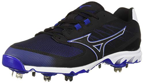 Mizuno Men's 9-Spike Dominant IC Low Metal Baseball Cleat Shoe, Black/Royal, 7 D US -
