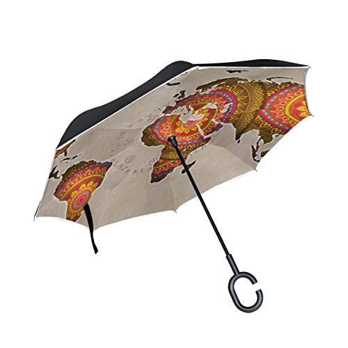 Mnsruu Double Couche inversé parapluies Carte du Monde Mandala Pliant Parapluie Coupe-Vent Protection UV pour Une Utilisation de Voiture Pluie en Plein air avec poignée en Forme de C