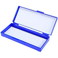 Hemobllo Caja de Portaobjetos de Microscopio Profesional de Plástico 50 Rejillas (Azul Marino)