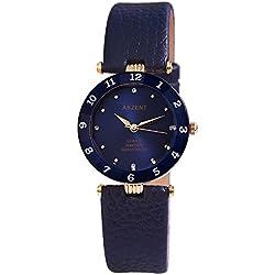 Akzent Damen analog Armbanduhr mit Quarzwerk SS7303000035 Metallgehäuse mit Kunstleder Armband in Blau und Dornschließe Ziffernblattfarbe Dunkelblau Bandgesamtlänge 22 cm Armbandbreite 18 mm
