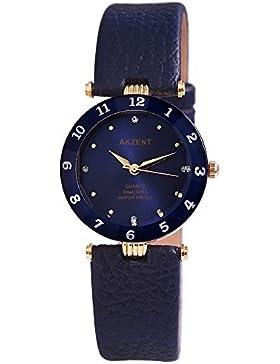 Akzent Damen analog Armbanduhr mit Quarzwerk SS7303000035 Metallgehäuse mit Kunstleder Armband in Blau und Dornschließe...