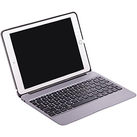 De ultra thin Teclado Bluetooth QWERTY Keyboard Case Cover Carcasa rígida para Apple iPad Air 2–Smart Cover con función de batería de 2800mAh Power Banco/Función de Hibernación/Activar gris