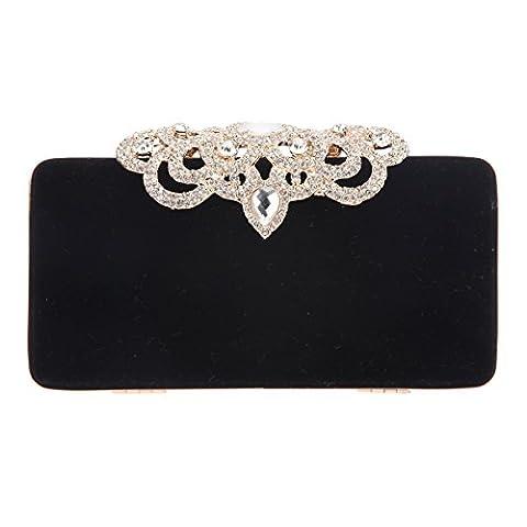 Bonjanvye Velvet Shining Crown Evening Clutch Bag and Purse for Women Black