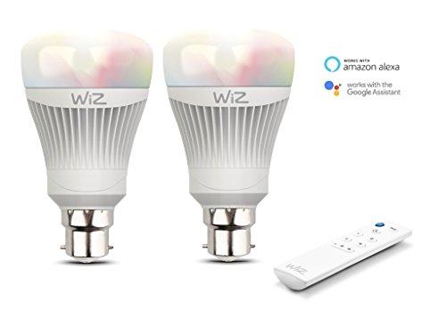 Pack de 2 ampoules LED intelligentes WiZB22 - connectées par WiFi - blanc et couleurs + WiZmote. Réglage de l'intensité lumineuse, 64000 nuances de blanc, 16 millions de couleurs. Fonctionne avec Amazon Alexa et Google Home.