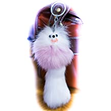 3 2 FOR! Big Designer Fur Keyring 20 cm, Charm, Cute Animale, Unique Gift, Cute, Chain, Fox, Ferret, Monster Keychain Yellow (Large)