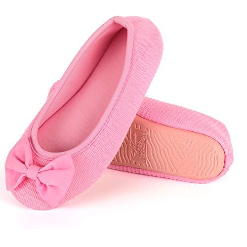Wishcotton Women's Memory Foam Ballerina Slippers, Damen Atmungsaktiv Bogen Hausschuhe-39/40 EU-Pink - Ballett Schuhe Rosa Bogen
