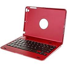 Funda Cubierta de Aluminio con Teclado Bluetooth Inalámbrico para iPad Mini 1 2 3 4 Varios Colores - Rojo