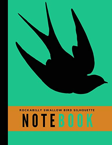 Rockabilly Swallow Bird Silhouette Notebook: Wide Ruled Perfect Bound Composition Book 8 1/2
