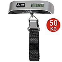 Tatkraft Approved Portable Digital Luggage Scale 50Kg/110Lbs Travel Suitcase Pocket Size Intergarted Thermometer Stainless Steel