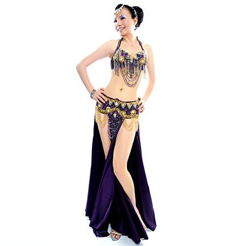 Bauch Tanz Übergröße Kostüm - Royal smeela Frauen Bauch Tanz-Kleidung Strass Sexy Kleid BH/Gürtel/, violett