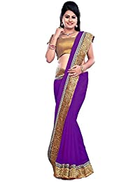 Govindam Women's Chiffon Saree With Blouse Piece (Psm26Purple, Purple, Free Size)