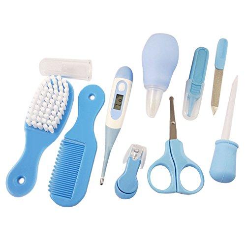 10PCS Baby Gesundheitswesen Care Kit Set mit Nasensauger Baby Pipette Feeder Digital Thermometer Pinsel Kamm Scissor Nagelknipser Zahnbürste Nagelfeile Pinzette Blau -