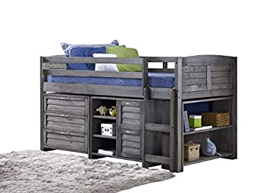 Mission TM Cozy Mid Sleeper Finished in a Brushed Grey Solid Brazilian Pine. (Ladder on the Right)