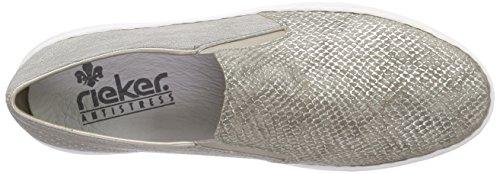 Rieker - M3965, Mocassini Donna Beige (Fango-silver/staub / 64)