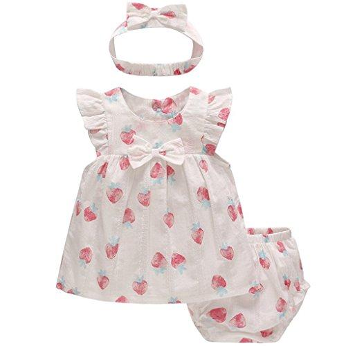 JiAmy Baby Mädchen Sommer-Kleidung-Set Erdbeeren Kurzarm-Kleid + Shorts + Stirnband 3 Stück Outfit-Set, 9-12 Monate - Baby Kleid Set