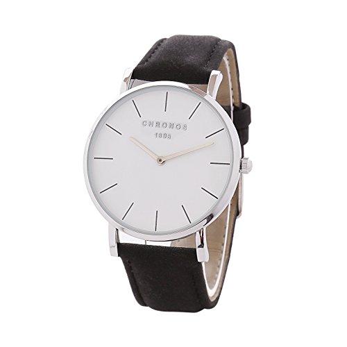 Relojes Unisex Clásico Delgada Analogico Relojes Pulsera Mujer Hombre Cuero Casual, Negro-Plateado