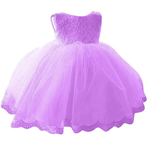 BOBORA Baby Girl Dress bowknot senza maniche Fromal Tutu principessa pizzo abiti Pageant Matrimonio età 0-24m Purple X-Large