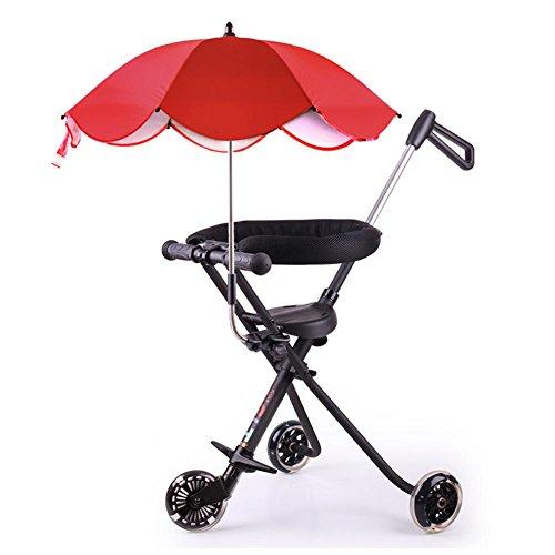Einfache und leichte Alu-Kinderwagen Falten Kinder Wagen mit Regenschirm , black , with red Umbrella