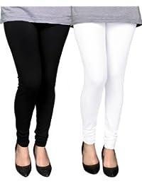 Spring Up Black White Woman's Cotton Lycra Premium Leggings (Pack Of 2)