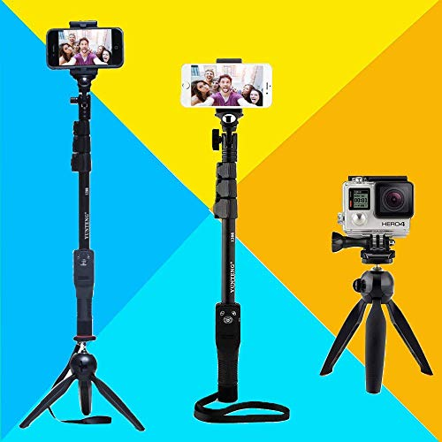 Azacus Self-Portrait Monopod Expandable Bluetooth Selfie Stick with Built-in Remote & Phone Holder for Samsung, Vivo, iPhone, Redmi, Oppo and All Other Smartphones