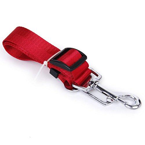 SODIAL(R) Cinturon ajustable de seguridad para coche accesorio para perros (rojo)