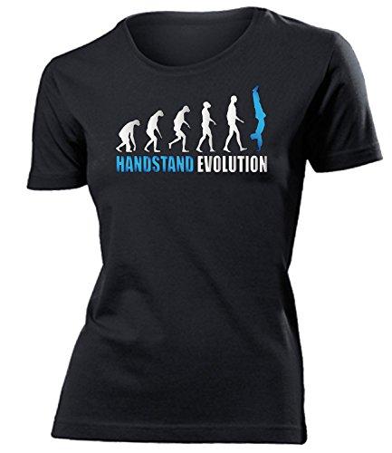 Handstand Evolution 611 Turn Sport shirt tshirt Fanartikel Fanshirt Frauen turniershirt Shop Sportbekleidung Damen T-Shirts Schwarz Aufdruck Blau S