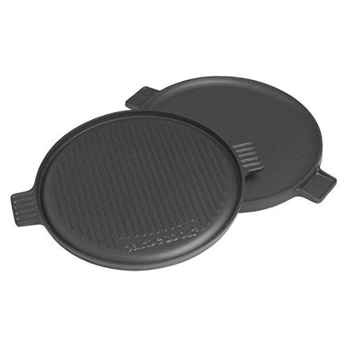 Barbecook Plancha fonte émaillée ronde pour barbecue, 1 face rainurée, 1 face lisse, 35 cm