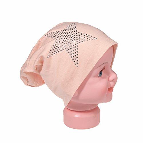 baby-bambini-in-jersey-slouch-beanie-long-berretto-con-stella-di-strass-unisex-cotone-trend-salmone-